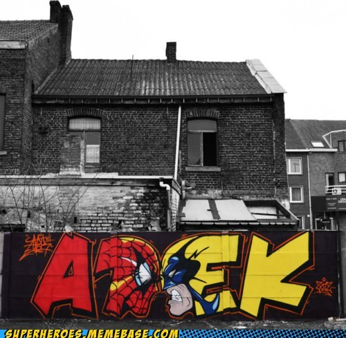 Awesome Art,graffiti,Spider-Man,wolverine