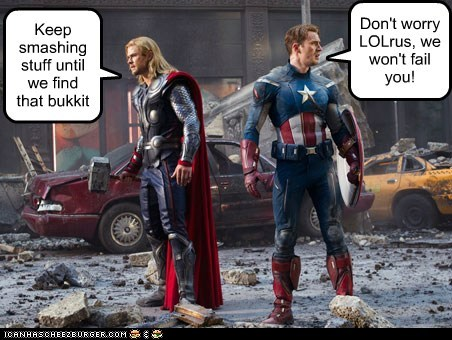 avengers bukkit chris evans chris hemsworth FAIL lolrus - 5964279296