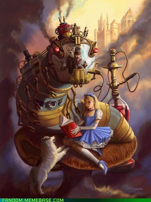 alice in wonderland books Fan Art Steampunk - 5964665344