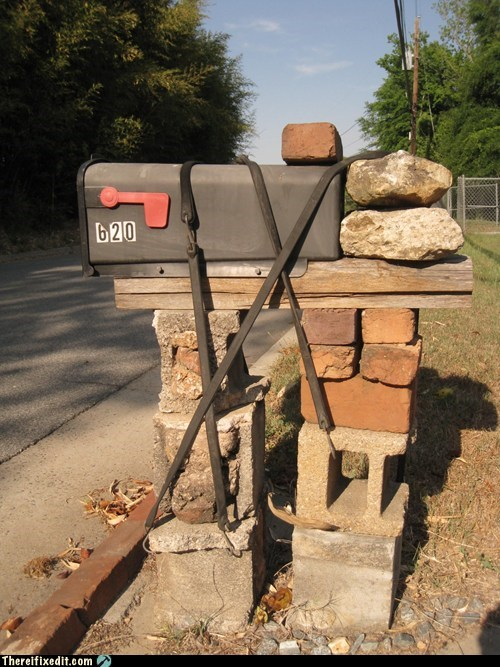mail box rocks stones
