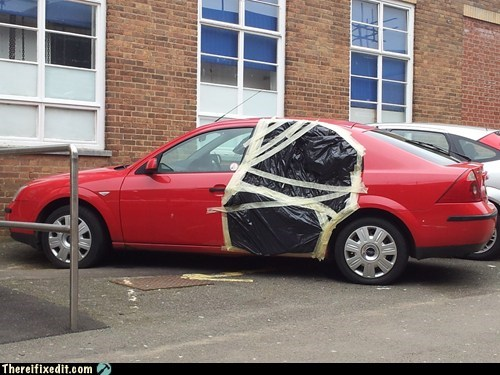 car door,masking tape,plastic,plastic bag