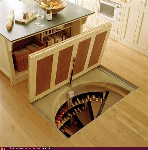 alcohol,kitchen,trapdoor,wine cellar,wtf