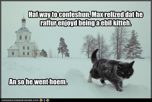 basement cat catholic church confession evil good pray snow - 5966418432