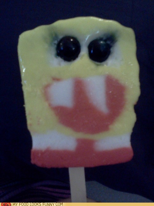eyes,face,high,ice cream,popsicle,SpongeBob SquarePants