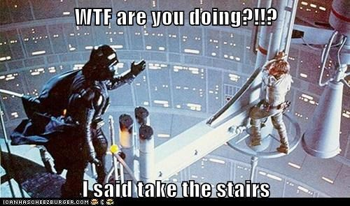 darth vader,luke skywalker,Mark Hamill,safety,stairs,star wars,wtf