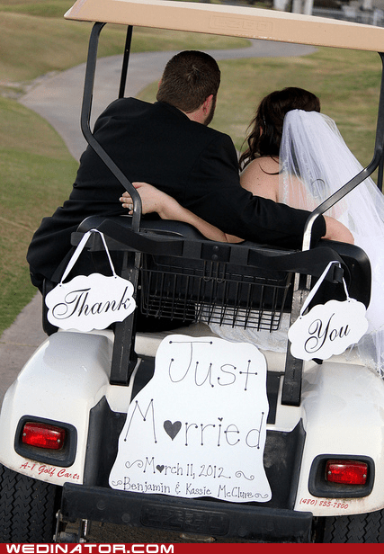 bride,funny wedding photos,golf cart,groom