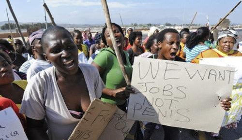 africa engrish jobs Protest sign
