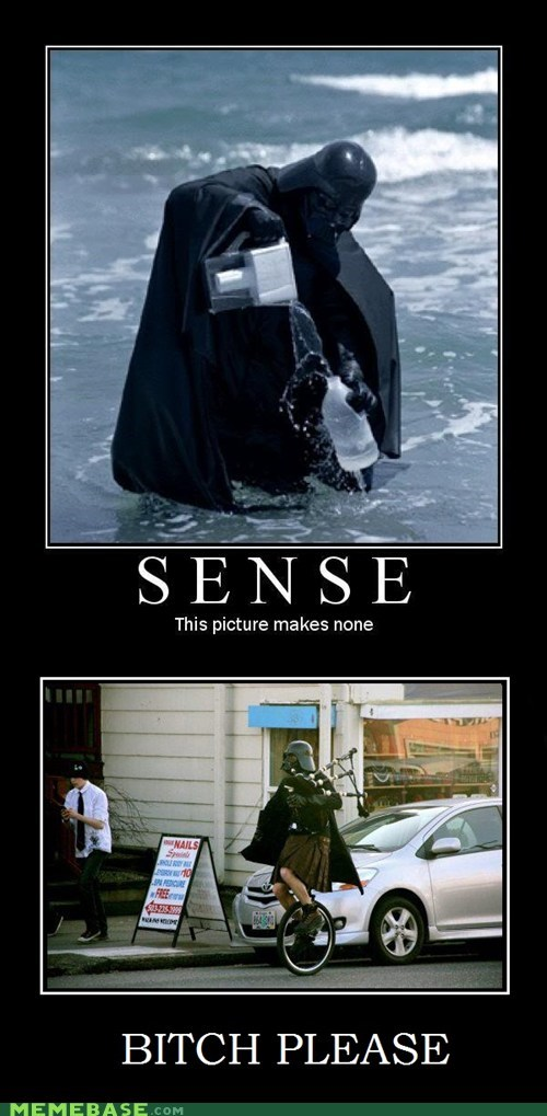 darth vader,kilt,Memes,nonsense,unicycle,water