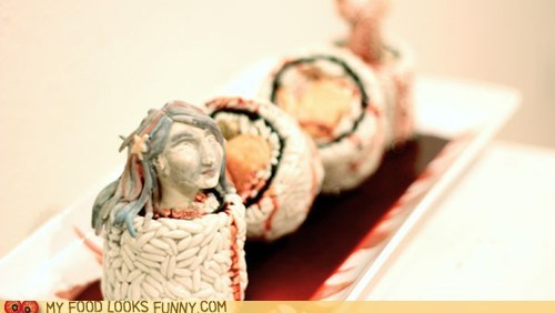 art,Blood,gross,mermaid,rice,sculpture,sushi