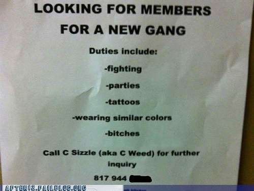 Ad,gang,job opening,notice,Party