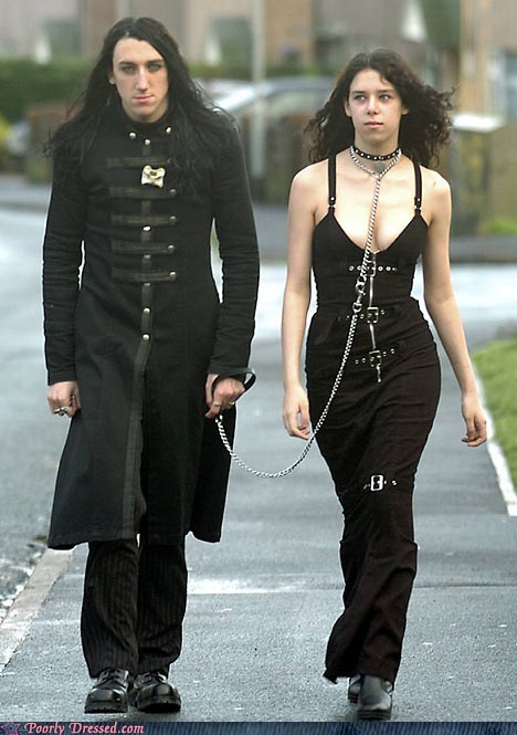 black,British,chains,goth,human pet,leash,UK