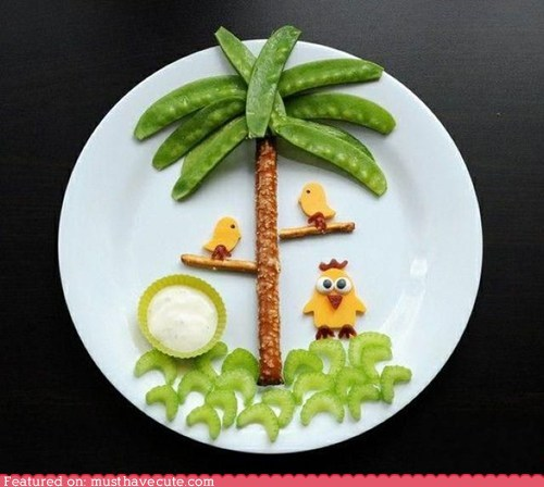 birds,celery,epicute,Palm Tree,peas,pretzels,snack
