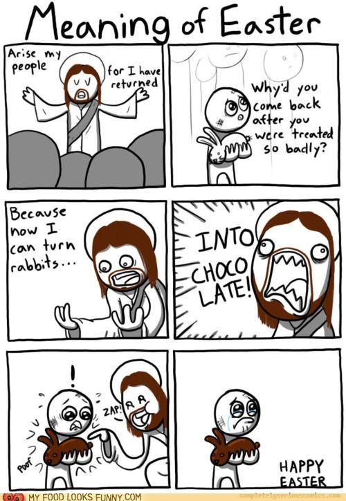 bunny chocolate comic easter jesus Sad - 5968136960