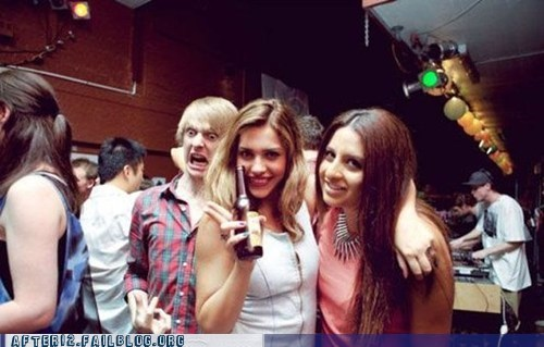 beer Party photobomb weird face woo girls