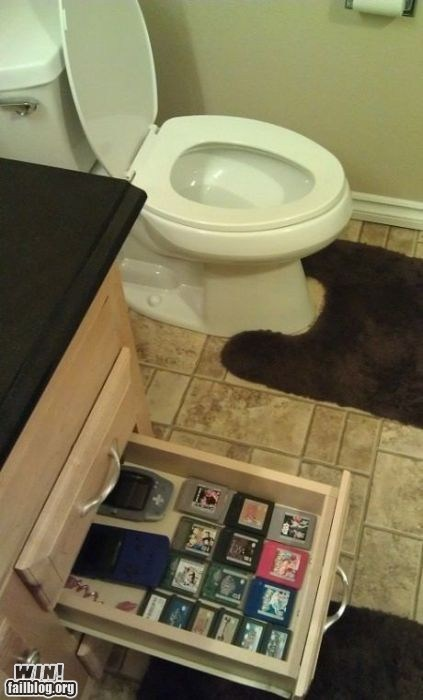 bathroom,distraction,toilet,video games