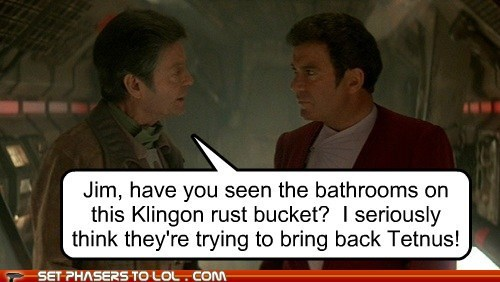 bathrooms Captain Kirk DeForest Kelley klingon McCoy rust Shatnerday Star Trek tetanus William Shatner - 5971153152