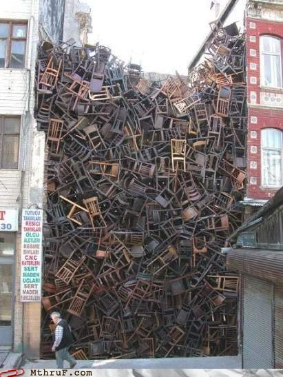 alley,chairs,seats,stacked,stock room