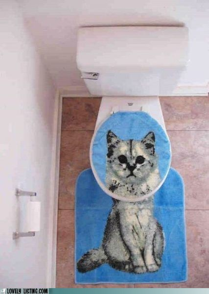 cat cover rug toilet