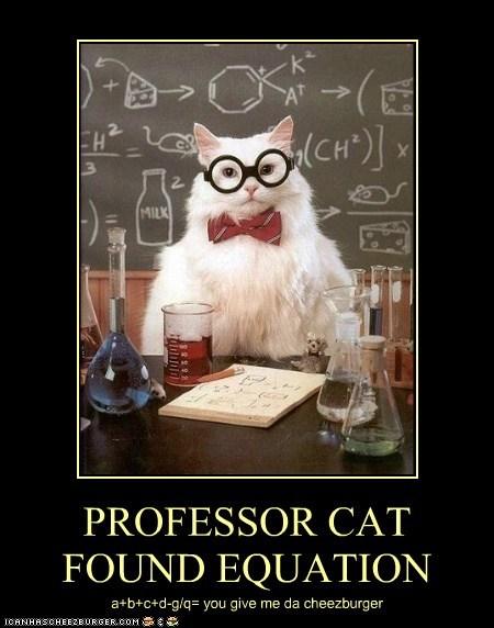 PROFESSOR CAT FOUND EQUATION a+b+c+d-g/q= you give me da cheezburger