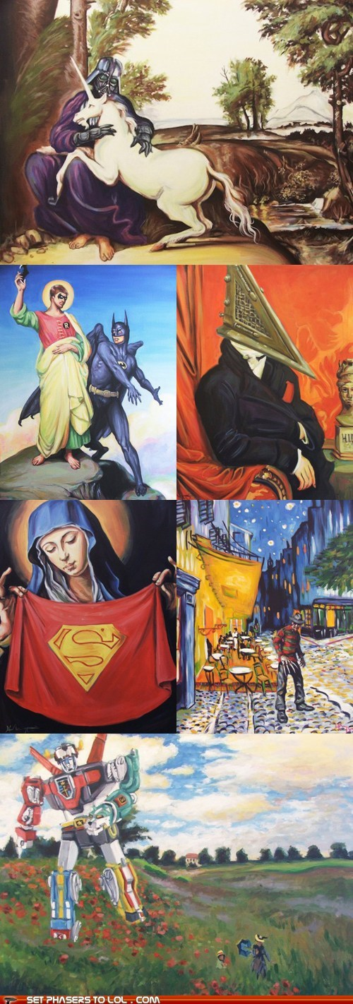 art,batman,Batman and Robin,darth vader,freddy,monet,pyramid head,star wars,superman,unicorn,Van Gogh,voltron
