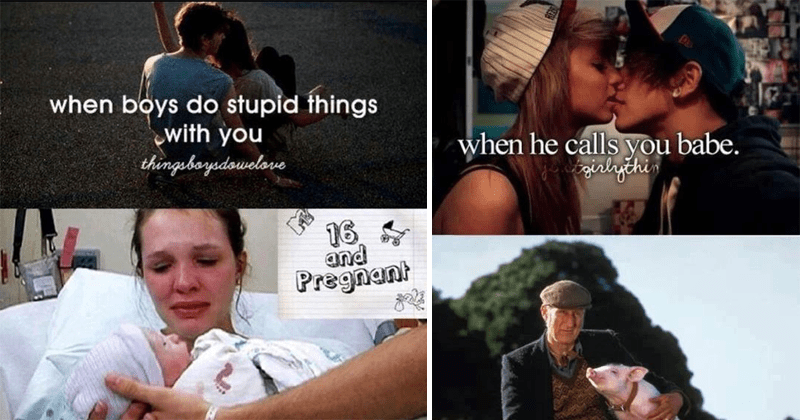 Justgirlythings memes, just girly things, boys, girls, dating, relationships, kissing, love, flirty memes, saw, sarcastic memes | boys do stupid things with thingebaysdowelove 16 and Pregnant | he calls babe. pig movie