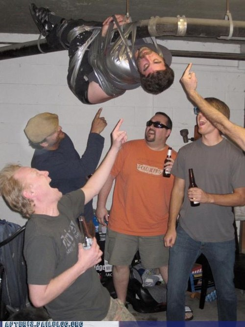 duct tape,Party,passed out,prank