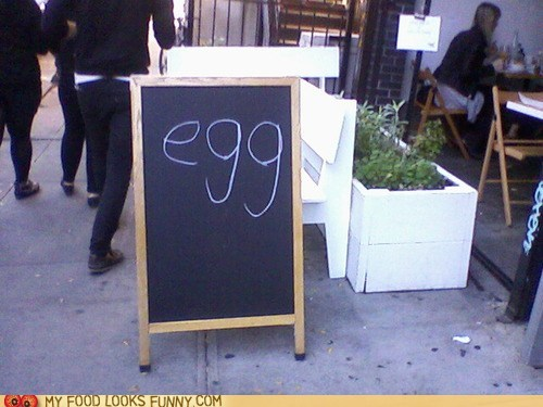 chalkboard egg restaurant sign