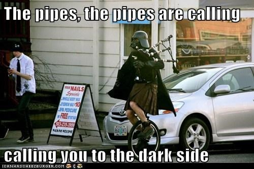 bagpipes calling danny boy dark side darth vader kilt pipes portland star wars