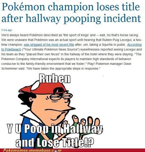 Champion,IRL,news,Pokémon,pokemon title,poop,ruben