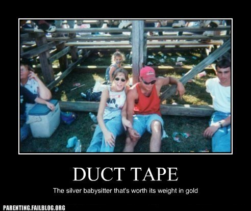 babysitter,duct tape