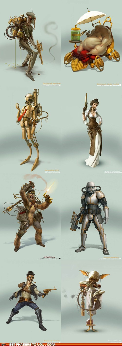 art,best of the week,boba fett,c3p0,chewbacca,Han Solo,jabba the hutt,Princess Leia,Reimagination,star wars,Steampunk,stormtrooper,yoda