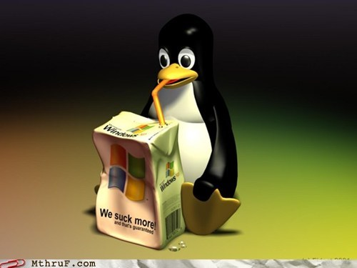 drinking,juice box,linux,penguin,windows