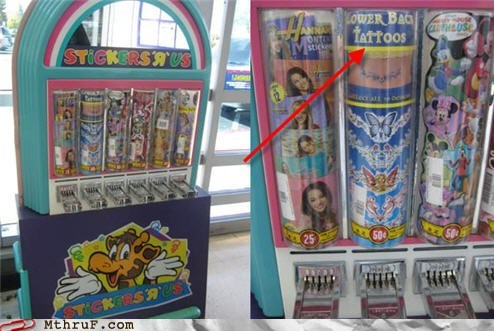 age inappropriate stickers tattoos toys r us vending machine