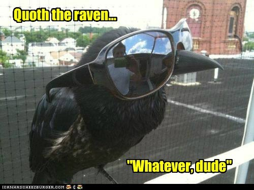 "Quoth the raven... ""Whatever, dude"""