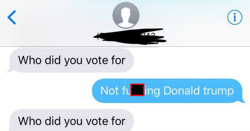 guy and girl stop texting after trump comment