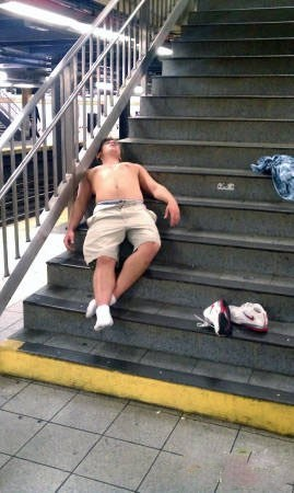 au naturale,passed out,stairs,Subway