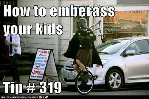 bagpipes,darth vader,effort,embarassed,Father,kids,kilt,star wars,tip,Troll Parents