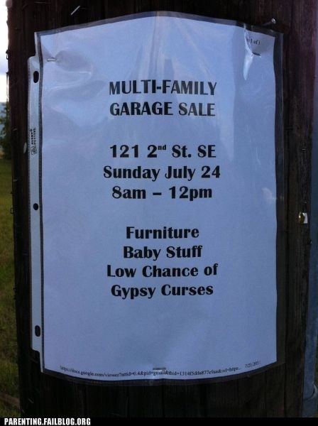 curse garage sale gypsy