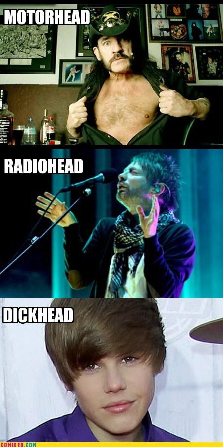 heads justin beiber Motörhead Music radiohead the internets - 5976505088