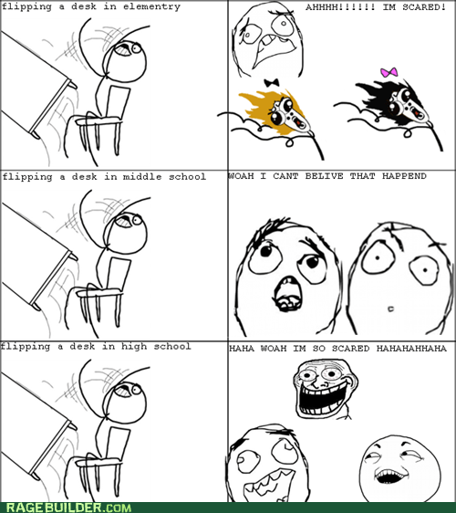 omg run,Rage Comics,table flip,truancy story