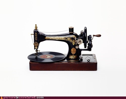 record,sewing machine,vinyl,wtf