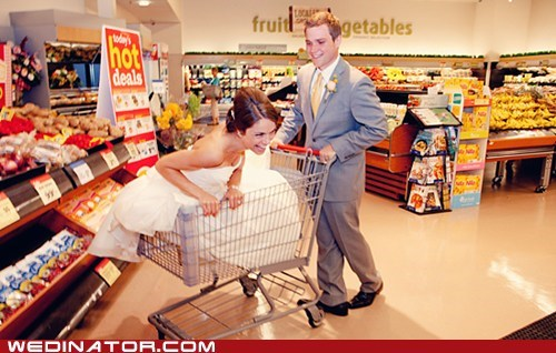 bride,funny wedding photos,grocery store,groom,supermarket