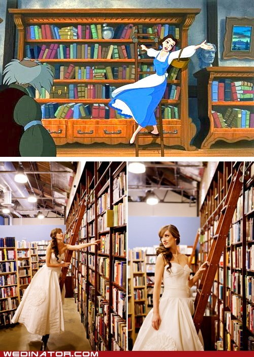 Beauty and the Beast,books,disney,funny wedding photos,Hall of Fame,library
