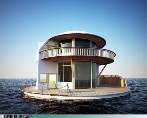 house,houseboat,island,round