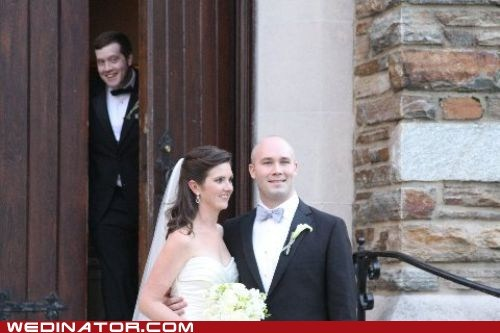 bride,funny wedding photos,groom,photobomb