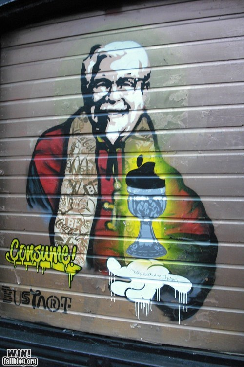 consumerism graffiti hacked irl kfc Street Art the colonel - 5977268224