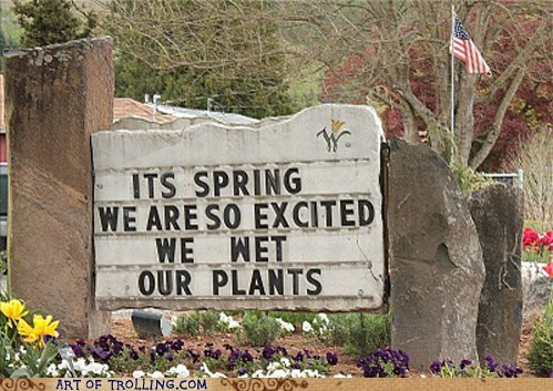 best of week,IRL,plants,sign,spring,wet