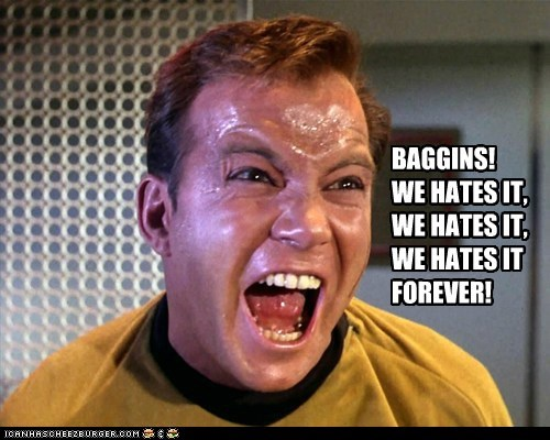 April Fools Day,baggins,Bilbo Baggins,Captain Kirk,gollum,hates,Leonard Nimoy,Shatnerday,Sméagol,William Shatner