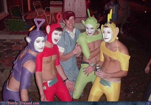 costume,drinking,Party,shirtless,teletubbies