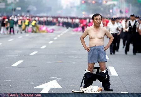 blocking road,boxers,east asia,no pants,road